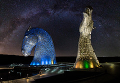 Kelpies star arch v4.5 (Mr_Souter) Tags: composite night spring milkyway water 2016 easter blue scotland march yellow kelpies canal places europe uk falkirk scale