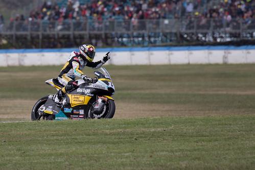 Moto2 race winner Thomas Luthi during his lap of honour