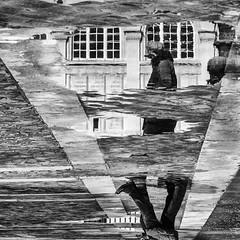 Paris (erzsebet kiraly) Tags: 2016 blackandwhite bnw monochrome paris people puddle reflection streetphoto france