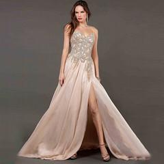 prom dress (maweiyu) Tags: sweetheart gold chiffon prom dress with beading and rhinestones