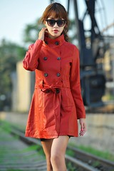 buttoned up (betrenchcoated) Tags: trenchcoat trench doublebreasted beautifulgirl jacket red buttons leather