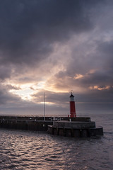 Watchet (Carl Hall Photography) Tags: cloud harbour lighthouse sea sky somerset sunset watchet water moody