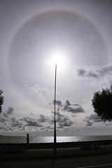 Circular Solar Halo (AdelaNistora) Tags: azores sãomiguel sãomiguelisland pontadelgada greenisland portugal 22° halo 22°halo 46° 46°halo sun solar circular circularhalo optical phenomenon opticalphenomenon cirrus clouds troposphere atmosphere ice icecrystals rainbow sky