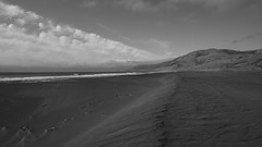 BEACH, CLOUDS AND MOUNTAINS B+W (Mike Reval) Tags: california usa coastline landscape bw
