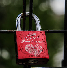 (C-47) Tags: paris lovelock love sign red digits letters steel metal lock bokeh art eternity street story padlock