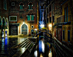 Walking Home Again (Stuck in Customs) Tags: hasselblad italy stuckincustoms treyratcliff venice northeastitaly canal gondola houses street night horizontal colour color rr dailyphoto reflection glow lights blue white red orange green yellow brown hdr hdrphotography hdrphoto photographyworkshop boats h5d february 2016 p2016 clouds trees skyline city architecture dusk bright road outdoor
