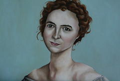 My Own Study Linking Contempory Issues With Pre-Raphaelite Works - In the Style of John Currin (yasminspencer) Tags: blurred lowcontrast oneface closeup mediumquality portfolio newladyheadbluebackground redo