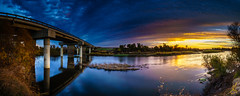 San Joaquin River Panorama (stuanderson7) Tags: grass landscape bridge serene nature reflection outdoor clouds california river water sky morning san joaquin trees sunrise dawn sanjoaquinriver