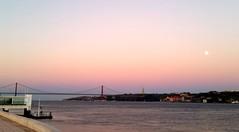 """25 de Abril"" Bridge, Belem, Portugal (leonyaakov) Tags: belem lisbon portugal travel bridge river sunset panorama moonlight capitalcity citytour"