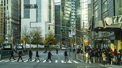 """""""Color of Autumn 2016 in NYC""""  (Panoramic Street Scene at 60th Street and Broadway Beginning Holiday Season) (nrhodesphotos(the_eye_of_the_moment)) Tags: dsc08145472 """"theeyeofthemoment21gmailcom"""" """"wwwflickrcomphotostheeyeofthemoment"""" colorofautumn2016innyc autumn season streetperspective manhattan nyc reflections shadows pedestrians signs people buildings crosswalk streetlights architecture outdoor skyline skyscrapers windows jazz metal crowd sidewalk stores glass geometric road streetsigns holidaycrowd shoppers"""