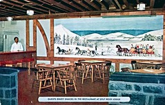 Guests Enjoy Snacks in the Restaurant at Split Rock Lodge PA (Edge and corner wear) Tags: vintage postcard pc restaurant poconos pocono mountains snow mural art wall bartender lounge snacks cocktail horse sleigh people sleighride team horses