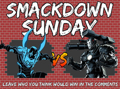 Smackdown Sunday- Blue Beetle VS War Machine (Luigi Fan) Tags: blue beetle dc comics vs marvel war machine