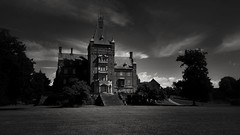 Any home can be a castle when the king and queen are in love  (maya the viking_girl) Tags: monochrome blackandwhite bnw castle building architecture sky nature park light darkness shades shadows grass lawn silhouette clouds landscape sweden trollens