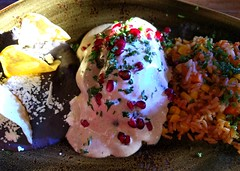 Chile en Nogada at The Mexican Corner (Ruth and Dave) Tags: themexicancorner whistler whistlerblackcomb whistlervillage mexican restaurant chileennogada stuffedpepper nogada sauce cream pomegranate chile meat refriedbeans rice meal food lunch plate dish
