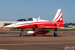 Swiss Air Force --- Patrouille Suisse --- Northrop F-5E Tiger II --- J-3090 (Drinu C) Tags: plane aircraft military sony tiger dsc ffd fairford riat northrop patrouillesuisse f5e swissairforce theroyalinternationalairtattoo egva j3090 hx100v adrianciliaphotography