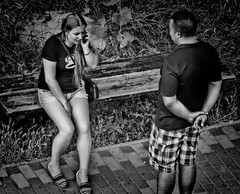 Phone assistance (Constantin Florea) Tags: life street city girls portrait people urban blackandwhite bw man monochrome lady canon faces candid streetphotography monotone streetphoto capture hdr sx50 outstandingromanianphotographers