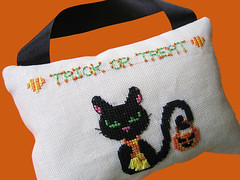 Trick or treat (Sarah Cookland Designs) Tags: black home halloween sarah modern scarf cat de 3d cross stitch embroidery sewing or spooky designs treat trick decor tassel croix 2014 ponit counted cookland