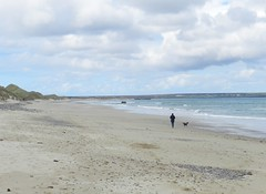 The lady and her dog, Reiss Sands, Caithness, Sutherland, May 2014 (allanmaciver) Tags: friends dog chat waves wind walk enjoy sands breeze sutherland stroll meet caithness ladt reiss allanmaciver