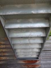 P1050949 (mlinksva) Tags: metal stairs berkeley underneath horizontalfence