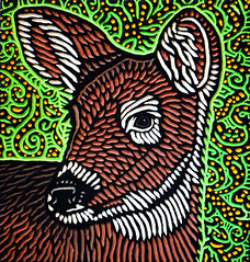 deer (Lisa Brawn) Tags: wood calgary art illustration painting design woodcuts graphics folkart wildlife carving popart alberta woodcut woodcarving woodblock brawn canadiana reclaimed salvaged upcycled lisabrawn