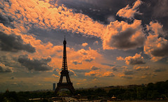 The Sun Sets on the Eiffel Tower (johnferebee) Tags: paris france tower clouds eiffel