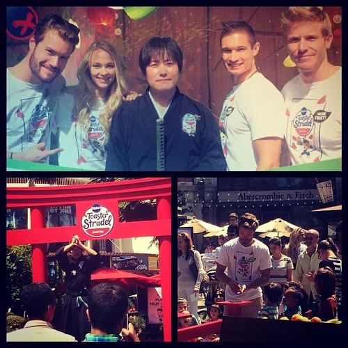 The crew had a blast today working today's promo gig @thegrovela with the Fruit Ninja here from Japan! #strudelninja #fruitninja #toasterstrudel #events #isaomachii #eventlife #samurai #eventeleven #promotions #losangeles #werk #socool #200ProofLA #200Pro