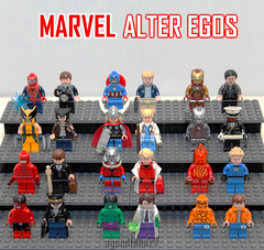 [GROUP] [MOC] MARVEL ALTER EGOS v.1 (agoodfella77) Tags: red storm matt ross war lego ben thing bruce steve banner spiderman machine ironman tony peter johnny rogers hulk logan thor hank marv
