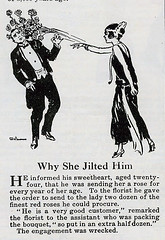 Why She Jilted Him 1923 (genibee) Tags: 1920s roses woman man illustration vintage magazine humor advertisement tuxedo flapper 1923 jilted