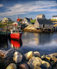Peggy's Cove - The Iconic Edition (sminky_pinky100 (In and Out)) Tags: travel blue red sea canada tourism water reflections landscape boats community rocks pretty novascotia scenic peggyscove iconic shacks fishingharbour omot cans2s exhibitionoftalent masterclassexhibition masterclasselite