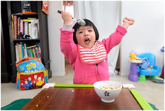 (minsu101) Tags: pink food table lunch happy yummy toddler child rice eating bowl natalie