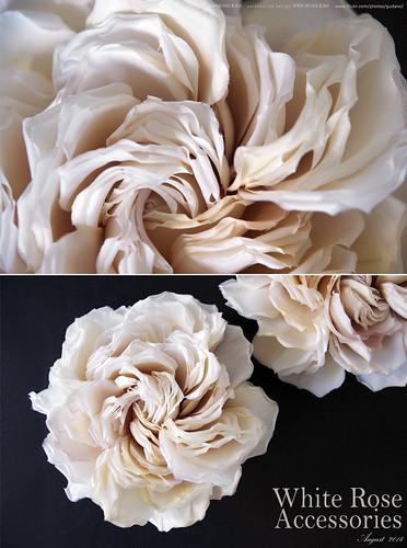 白色玫瑰花頭飾