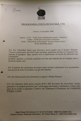 Programma Festa di Natale Collegno Basket 1998