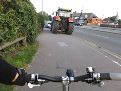 Confused (stevenbrandist) Tags: tractor bicycle cycling leicestershire parking mcdonalds commute irony commuting loughborough sharedpath ae11anf