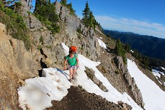 Stay Calm, Walk Straight and Don't Look Down (daveynin) Tags: mountain snow view nps trail olympic overlook marlena highdivide deaftalent deafoutsidetalent deafoutdoortalent