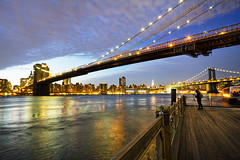 New York at Night (Demerarah) Tags: nyc newyorkcity longexposure nightphotography newyork photography lights colours photographer brooklynbridge manhattanbridge