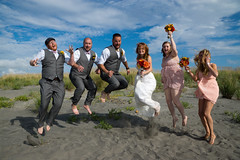 Wedding on Long Beach (Kevin_Barrett) Tags: wedding beach groom bride washington jumping sony bridesmaids longbeach alpha groomsmen slt ssm a77 1650mm