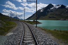 track @ Lago Bianco (Toni_V) Tags: alps schweiz switzerland europe track suisse hiking 28mm rangefinder alpen svizzera bahn engadin wanderung m9 2014 gleis rhb oberengadin graubünden grisons rhätischebahn svizra lagobianco grischun elmaritm ospiziobernina messsucher 140824 ©toniv leicam9 valbernina l1018287