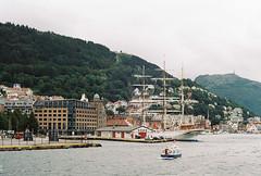 (Kkeina) Tags: city sea film water norway analog 35mm 50mm grain olympus manual bergen om om1