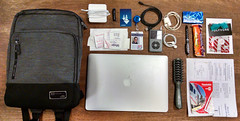 What's in my bag? (pr0digie) Tags: bag backpack neat arrangement thingsorganizedneatly macbook laptop ipod clipper card gopass charger wires flickrhero mybag