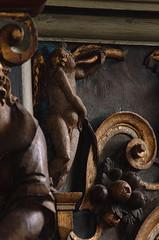 Flng, Sjlland, kirke, pulpit, cuppa, last judgment, detail (groenling) Tags: flng kirke sjlland denmark danmark dk pulpit cuppa wood carving woodcarving mesterbrix brix judgment lastjudgment damnation hell angel cherub trumpet mmiia