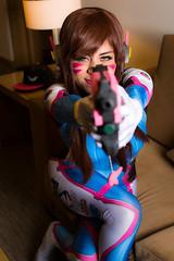 D.va Cosplay (AzazzelPhotography) Tags: cosplayphotography cosplay overwatch overwatchcosplay dva cosplaygirl gun pink bodysuit blue portrait beautiful fun play ps4