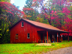 some_like_it_hot (gerhil) Tags: landscape building park outdoor utility color red moody serene autumn october2016 farm architecture cabin