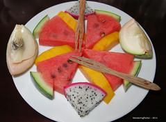 Mixed Fruit Platter - Bassac Boat III - Mekong Delta Vietnam (WanderingPhotosPJB) Tags: desserts vietnam mekongdelta river fruitplatter watermelon dragonfruit mango bassacboatlll