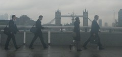 Rainy day in the City (Dan_DC) Tags: london rain commuters walkingacrossthelondonbridge rushhour people londoners unitedkingdom thethames bridge