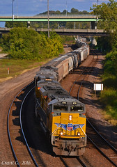 "Westbound Grain Train in Kansas City, MO (""Righteous"" Grant G.) Tags: up union pacific railroad railway locomotive train trains west westbound emd kansas city missouri grain"