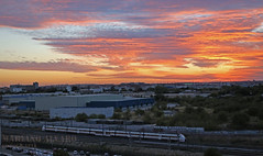 Under a Blood Red Sky (Mariano Alvaro) Tags: cielo madrid 449 tren trenes san cristobal nubes renfe