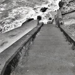 Mind your slippery steps (Dom Guillochon) Tags: time life pacificocean waves tides stairs goingdown wet splash slippery steps architecture concrete rocks cliffs