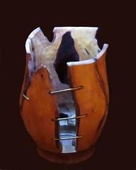 Flicker Friday: Unusual (Hayseed52) Tags: flickrfriday unusual vase holes wood brass wire flfrok