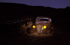 Old Car At Bodie Ghost Town (KeithJ) Tags: bodie night ghosttown statehistoricpark california headlights monocounty