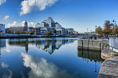 Dublin (SFB579 Namaste) Tags: dubllin ireland island country irish green water river reflections sony riverside modern architecture quay quayside blue sky landscape stone steel glass clouds